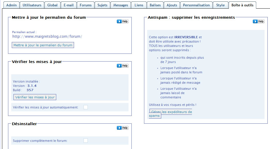Capture d'écran - Simple Press Forum, onglet Boîte à outils
