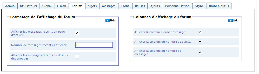 Capture d'écran - Simple Press Forum, onglet Forums
