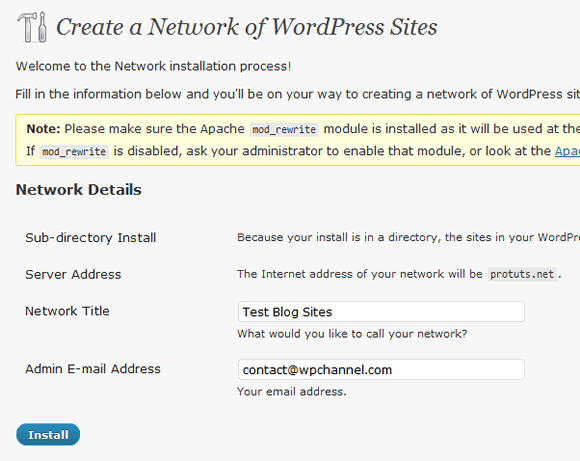 Capture d'écran - Module Network sous WordPress