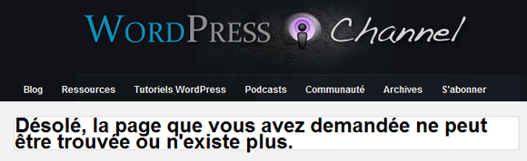 Capture d'écran - Exemple erreur page introuvable sur WordPress Channel