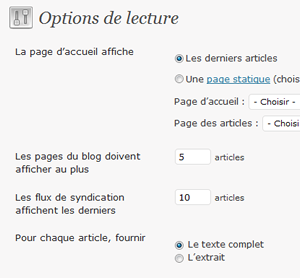 Capture d'écran - Options de lecture de WordPress