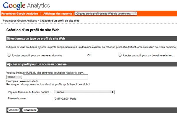 Capture d'écran - Ajout d'un domaine dans Google Analytics