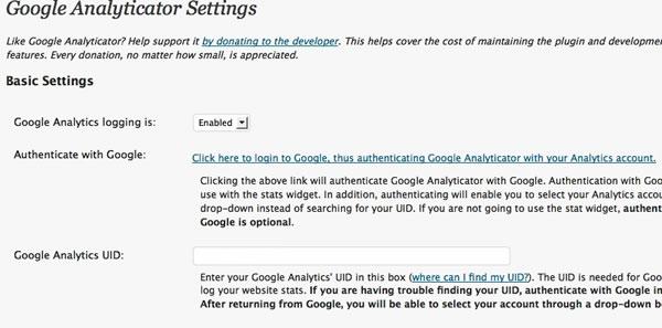 Capture d'écran - Paramétrage de Google Analyticator de WordPress