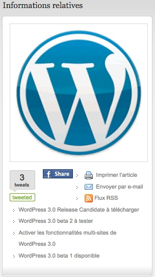 Capture d'écran - WordPress Channel, liste des articles relatifs