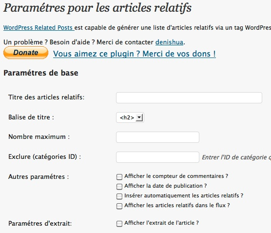 Capture d'écran - WordPress Related Posts, options avancées