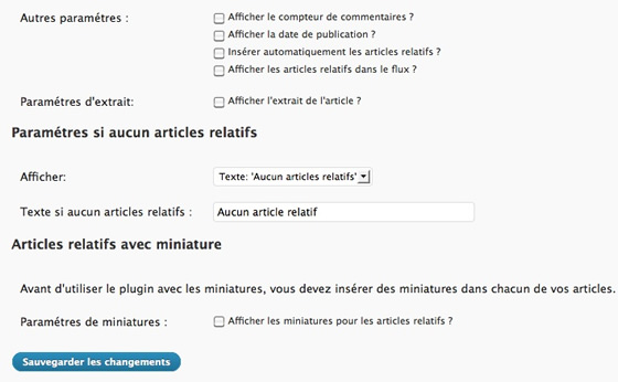 Capture d'écran - Configuration de WordPress Related Posts