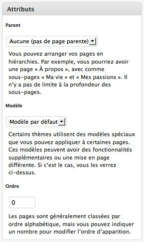 Capture d'écran - Définition d'un modèle de page Plan du site