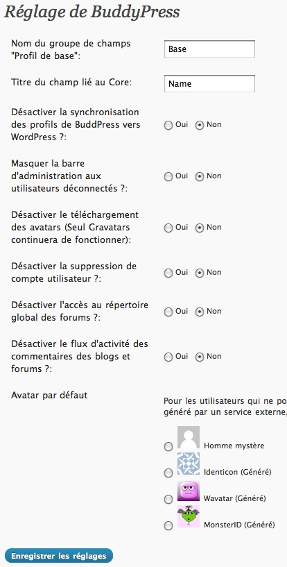 Capture d'écran - BuddyPress, options de base