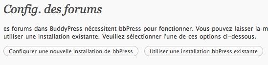 Capture d'écran - Installation de bbPress sur BuddyPress