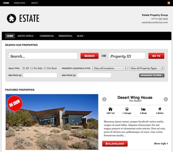Capture d'écran - Thème Estate pour l'immobilier