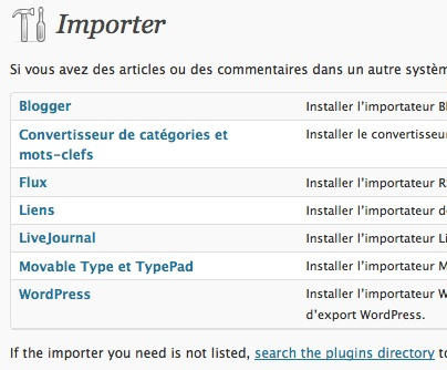 Capture d'écran - Liste des plugins d'import sous WordPress 3.0