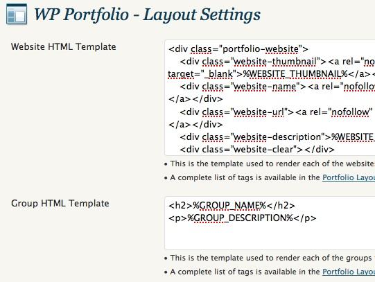 Capture d'écran - Paramétrage des styles CSS de WP Portfolio