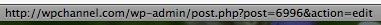 Capture d'écran - URL contenant l'ID de la page WordPress