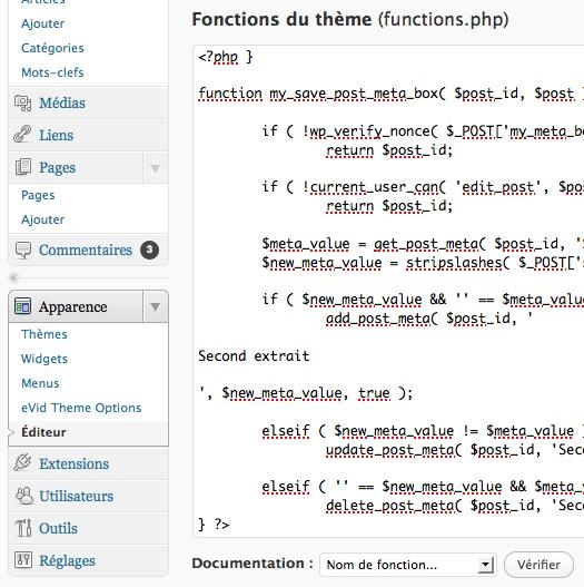 Capture d'écran - Ajout de code dans functions.php