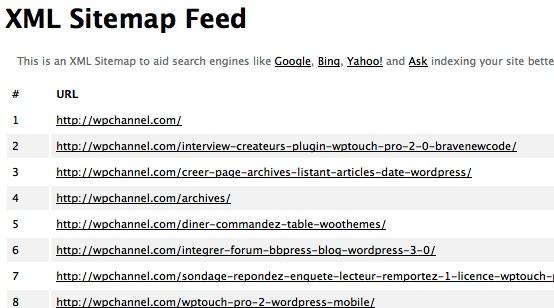 Capture d'écran - Fichier sitemap.xml de WordPress Channel