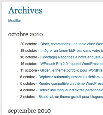 Capture d'écran - WordPress Channel et sa page d'archives