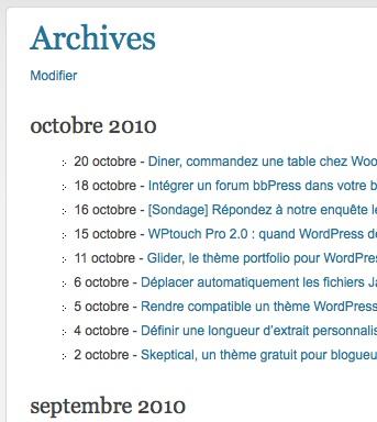 Capture d'écran - WordPress Channel et sa page d'archives