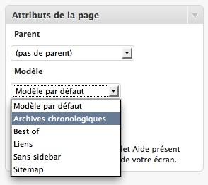Capture d'écran - Modèle WordPress Archives chronologiques