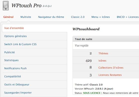 Capture d'écran - WPtouch Pro 2.0, panneau de configuration
