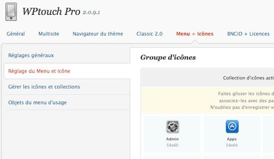 Capture d'écran - WPtouch Pro 2.0, options des icônes