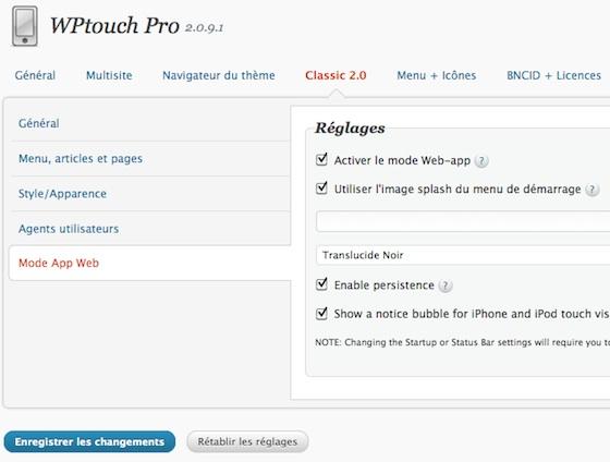 Capture d'écran - Avec WPtouch votre site devient une application iPhone / iPod