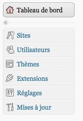Capture d'écran - Fonctionnalités multi-site séparées de l'administration standard de WordPress