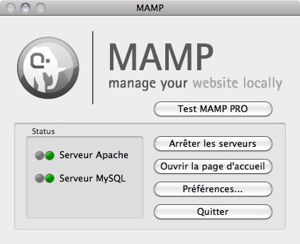 Capture d'écran - Ecran de lancement de MAMP