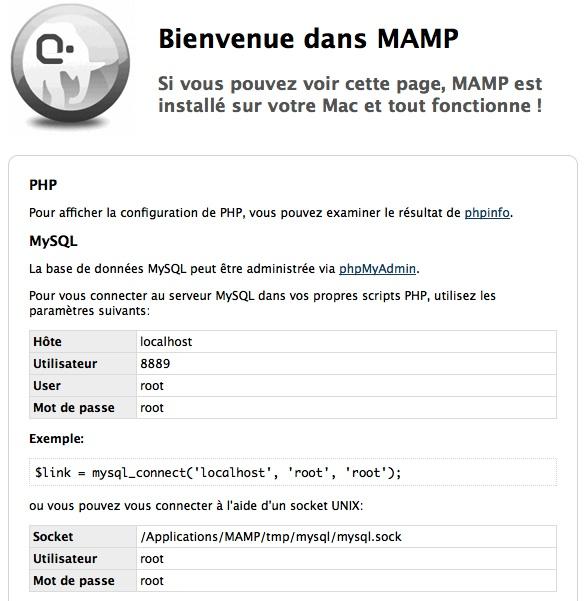 Capture d'écran - MAMP, page d'accueil