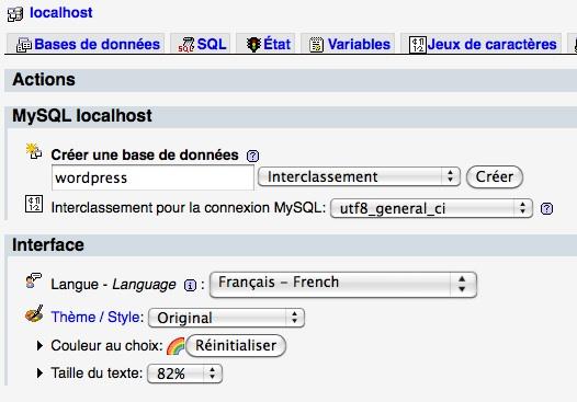 Capture d'écran - Création de la base wordpress