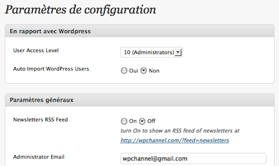 Capture d'écran - WordPress Newsletter Plugin de Tribulant Software