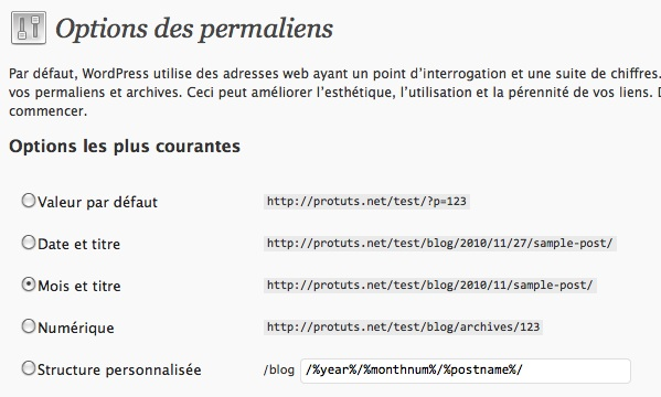 Capture d'écran - Modification des permaliens de WordPress