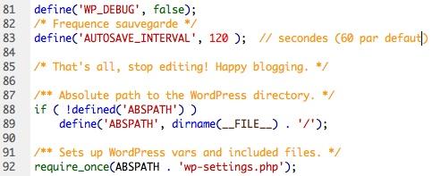 Capture d'écran - Modification du wp-config.php
