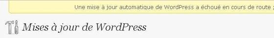 Capture d'écran - Message d'erreur de la mise à jour de WordPress