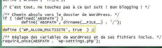 Capture d'écran - Modification du wp-config.php