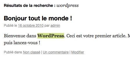 Capture d'écran - Module de recherche WordPress