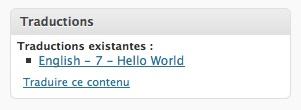 Capture d'écran - Module listant les différentes traductions de la page WordPress
