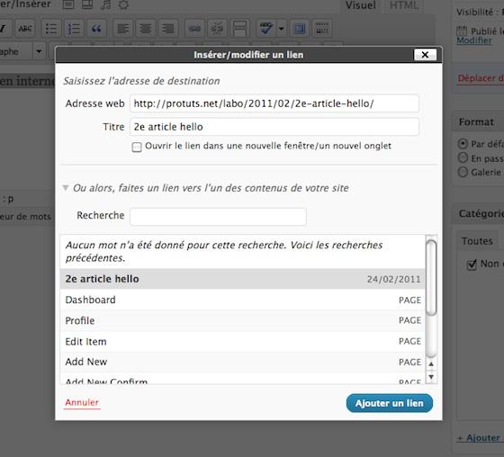 Capture d'écran - Gestion des liens internes dans WordPress 3.1
