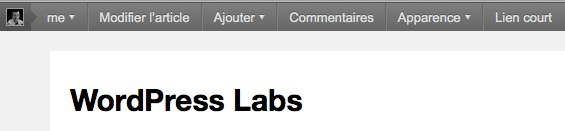 Capture d'écran - Nouvelle barre d'administration utilisateur sous WordPress 3.1
