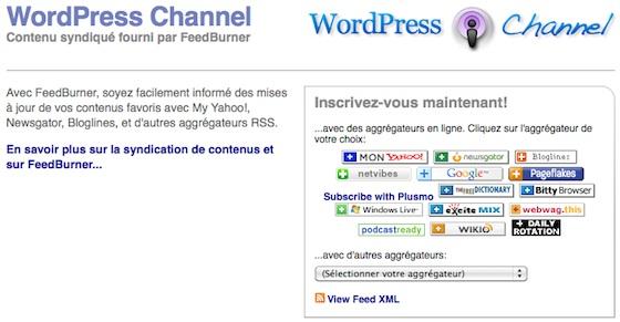 Capture d'écran - Aperçu du flux FeedBurner de WordPress Channel