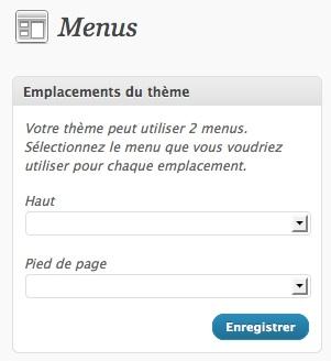 Capture d'écran - Choix de l'emplacement des menus personnalisés WordPress