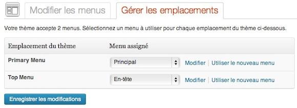 Capture d'écran - Emplacements des menus sous WordPress 3.6