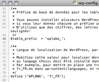 Capture d'écran - Modification du préfixe de base dans le wp-config.php