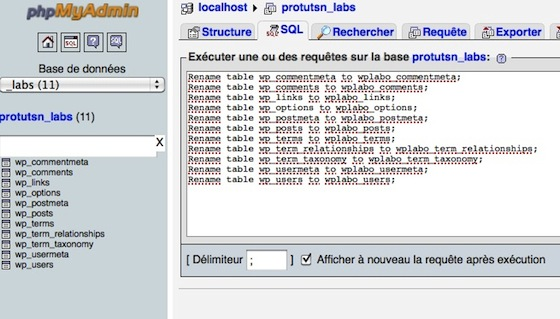 Capture d'écran - Actions de renommage des tables SQL