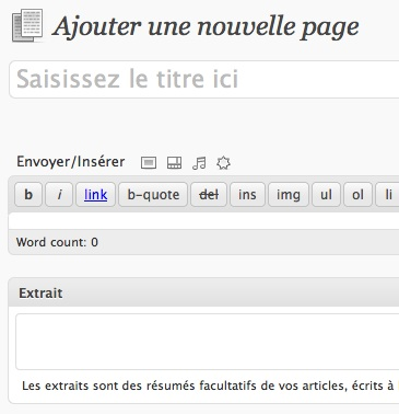 Capture d'écran - Aperçu du champ Extrait dans l'éditeur de pages WordPress