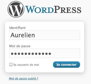Capture d'écran - Zone de connexion par défaut de WordPress