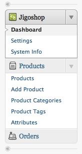 Capture d'écran - Jigoshop, menu du back office