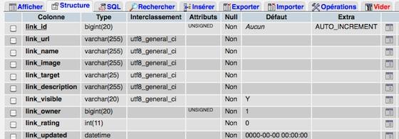 Capture d'écran - Edition de la base dans phpMyAdmin
