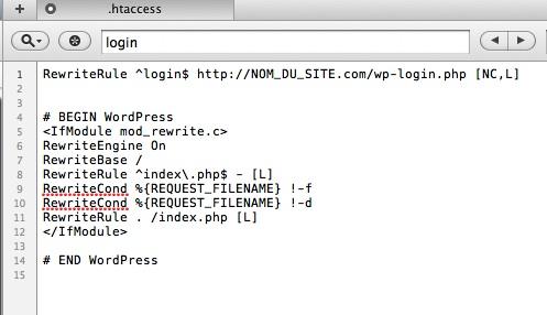 Capture d'écran - Edition du fichier .htaccess dans Coda pour MacOS X