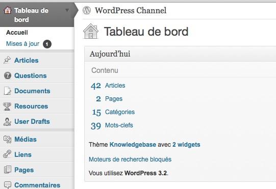 Capture d'écran - WordPress 3.2, aperçu de la nouvelle UI
