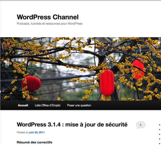 Capture d'écran - Aperçu du Twenty Eleven de WordPress 3.2